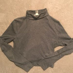GRAY CROP TOP TURTLENECK